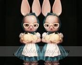 Creepy Bunny Art, Plastic Rabbits, Twin Art Print, Weird Easter Art, Pink and Black Art, Knickerbocker Rabbit