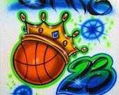 Airbrush T Shirt Basketball Crown And Name Number, Airbrush Basketball, Basketball Shirt, Basketball, Airbrushed Basketball, Airbrush Shirt