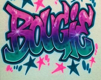 Airbrush T Shirt Graffiti Style Letters, Airbrush Graffiti Shirt, Airbrush Grafitti Shirt, Graffiti Shirt, Grafitti Shirt, Airbrush Shirt