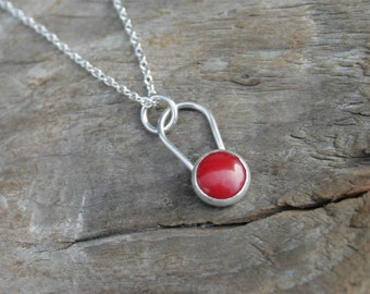 Red Coral Button Bezel Drop Necklace in Sterling Silver on Sterling Silver Chain.