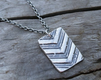 Chevron Rectangle Fine Silver Artisan Handcrafted Silver Necklace Jewelry.  Sterling Silver Chain.