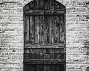 Rustic Black and White Print or Canvas Art, Black and White Door Photograph, Austin Texas Photography, Foyer Decor, Rustic Foyer Decor.
