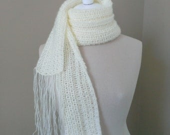 CROCHET PATTERN Extra Long Fringed Lace Scarf P15