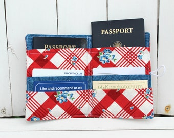 Passport Wallet - Bees Knees - 2 Passports, 4 Cards (red, white, blue)