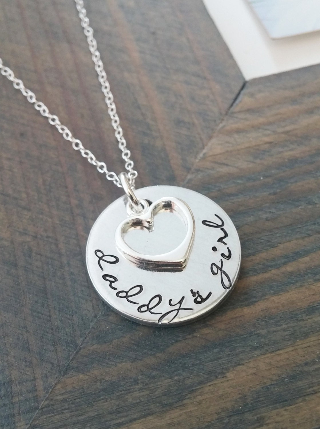 daddys girl necklace personalized jewelry hand stamped
