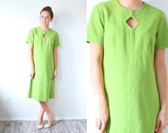 Vintage lime green 1970's mod dress // modest dress // mad men // 1960's dress // bright green mod dress // short sleeve summer dress