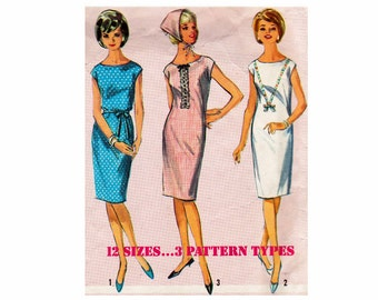 60s Shift Dress Junior Size 15 Bust 35 Classic Fashion Simplicity 5850 Vintage Sewing Pattern 1960s Dress and Scarf