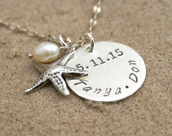 BEACH JEWELRY, Personalized Wedding Gift, Personalized Beach Wedding Necklace, Wedding Couple Gift, Wedding Date Gift, Beach Lovers