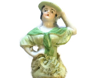 Antique 1920s Porcelain Half Doll Whisk Brush Art Deco with original paint and green ribbon
