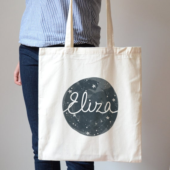 Personalized Night Sky Canvas Tote Bag Starry Galaxy Custom