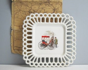 Vintage Duryea 1893 decorative plate - antique auto plate wall decor - vintage 1970s DIY decorative car art