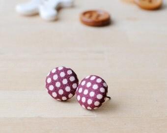 Burgundy Polka Dot Earrings | Button Earrings | Oxblood | Mulberry | Maroon | Stainless Steel