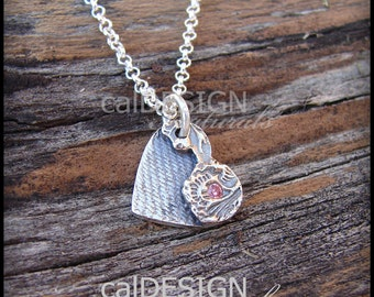Artisan Made Denim & Floral Necklace, Sterling Silver Heart Pendant w Light Pink CZ - Mother's Day, Anniversary, Valentine's Day