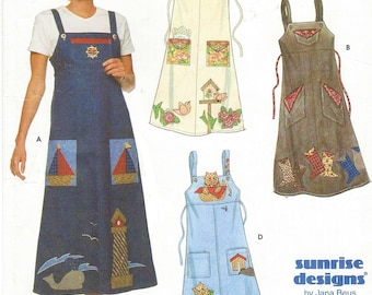 90s Womens Appliqued Jumper or Sundress Simplicity Sewing Pattern 7981 Size 12 14 16 Bust 34 36 38 UnCut Sunrise Designs by Jana Beus