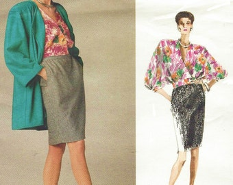 80s Emanuel Ungaro Womens Below Hip Jacket, Dolman Sleeve Blouse & Skirt Vogue Sewing Pattern 2045 Size 12 Bust 34 UnCut Paris Original