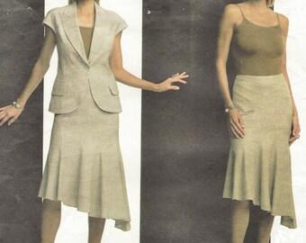 Guy Laroche Womens Sleeveless Jacket and Swirl Skirt OOP Vogue Sewing Pattern V2805 Size 12 14 16 Bust 34 36 38 UnCut Vogue Paris Original