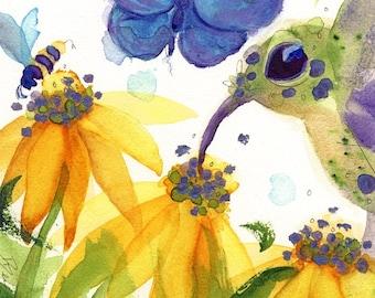 Large Fine Art Print of Hummingbird and Flowers, 12 x 16 Fine Art Print