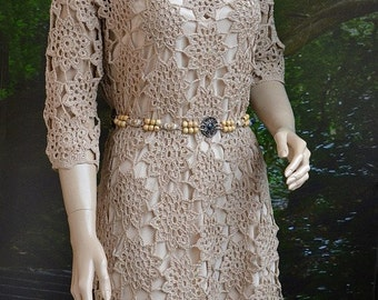 Crochet wedding dress, Handmade, beige Dress, wedding dress, Crochet beige dress, lace dress, Summer cotton, Dress crochet, wedding gown