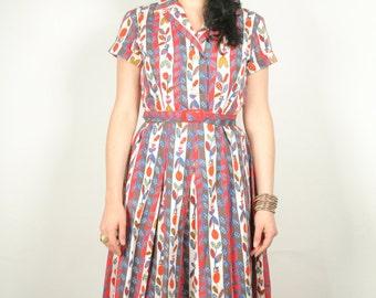 50s cotton floral full skirt dress