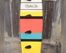 "Striped Surfboard Coat Rack 36"" or 48"""