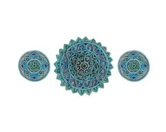 Mandala ceramic art // Wall tile // Decorative tile // Ceramic art // Hand painted tile // Mandala #1 cutout set // Turquoise