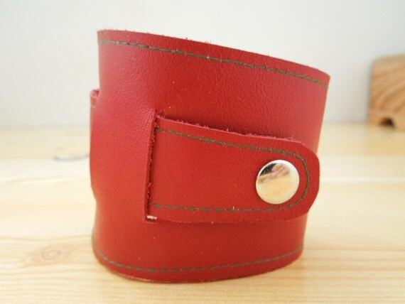 Red cuff,red leather cuff,red bracelet,red leather bracelet,wide bracelet,wide red cuff,asymmetric bracelet,asymmetric cuff,red wide cuff