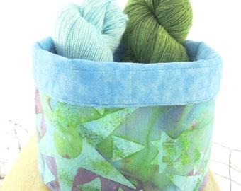 OOAK Knitting Bowl/Yarn Bowl /Table Decor:  Turquoise Teal Blue Green Purple Batik - Reversible Storage Bin