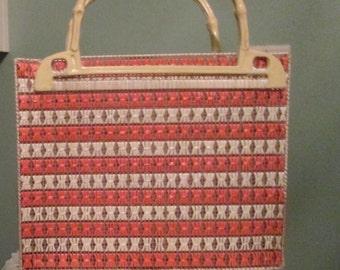 Vintage Orange White Handbag / 70s Woven Orange Tote / Bamboo Handles