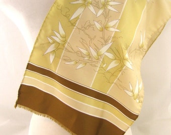 70s Long Scarf Oblong Scarf Long Neck Scarf Brown Cream Scarf 1970s Silky Neck Scarf Floral Print Scarf Gold Brown Scarf Long Silky Scarf