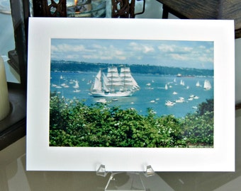 Welcome the Tall Ships to Tacoma, Photo Note Card Stationery, Unique Stationery, 5x7 Photo Notecard, sailboats welcomed the Tall Ships