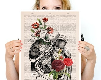 Flowery Heart Poster, wall art ,anatomical art, Roses art,Wall print , flower art, Human heart poster SKA080PA3