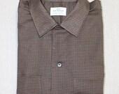vintage 1950's -Van Heusen 'Vantage'- Men's long sleeve shirt w/ button loop collar. 'New Old Stock' Micro grid - All Cotton. Large