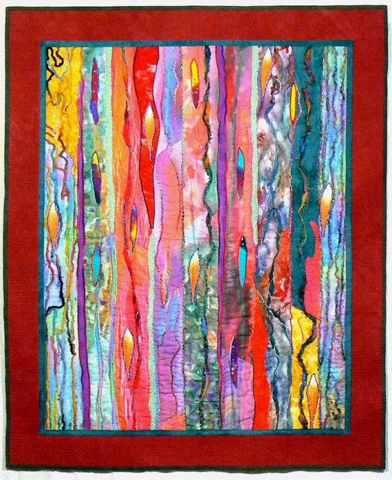 Fiber art quilt art wall hanging contemporary quilt modern for Modern art home decor etsy