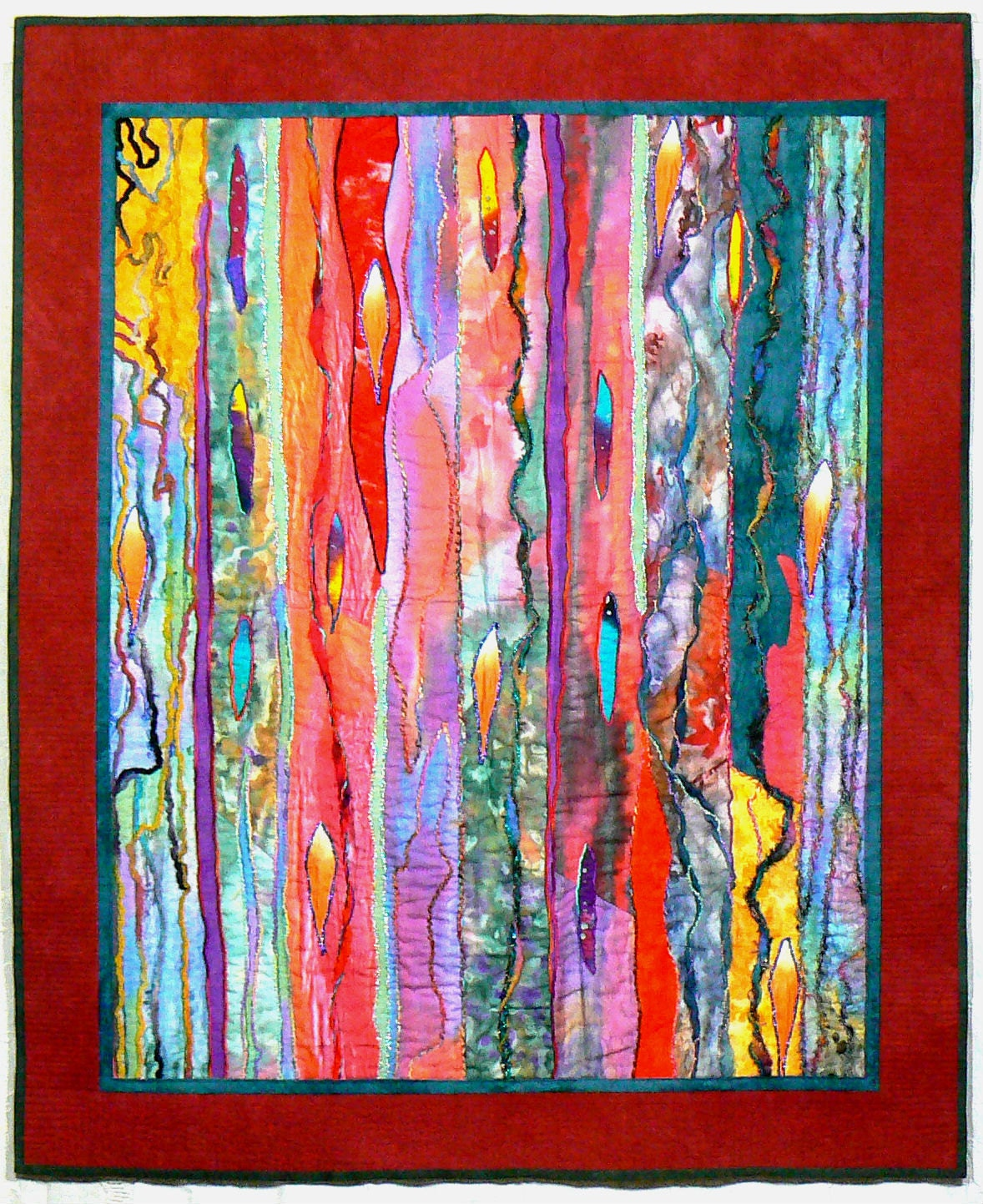 Fiber art quilt art wall hanging contemporary quilt modern for Fabric wall art