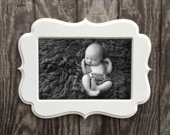 8x12 Picture Frame, Whimsical Frame, 8x12 frame, Wooden Frame, Curvy Picture Frame, White Frame, Wooden Frame, Picture Frames