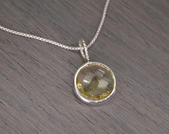 """Lemon Quartz Necklace, 8ct round faceted gemstone (16"""" chain) - Token Pendant"""