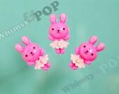 5 - Hot Pink Rhinestone Kawaii Nerdy Nerd Geek Girl Dress Bunny Rabbit Resin Cabochons, Bunny Rabbit Cabochons, 20mm x 37mm (R4-098)