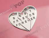 1 - Silver Tone Best Friends Forever Charm Set, Best Friends Pendant Set, Best Friend Charm, 47mm x 40mm, Hole 2.5mm (3-6J)