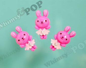 5 - Hot Pink Rhinestone Kawaii Nerdy Nerd Geek Girl Dress Bunny Rabbit Resin Cabochons, Bunny Rabbit Cabochons, 20mm x 37mm (R4-098)