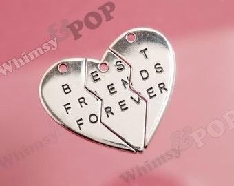 1 - OVERSTOCK SALE Silver Tone Best Friends Forever Charm Set, Best Friends Pendant Set, Best Friend Charm, 47mm x 40mm, Hole 2.5mm (3-6J)