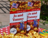 250 Personalized Cracker Jack Boxes Wedding Favors Birthday Party Favors, Baseball Party, Baseball Wedding Cute Party Favor Circus Theme