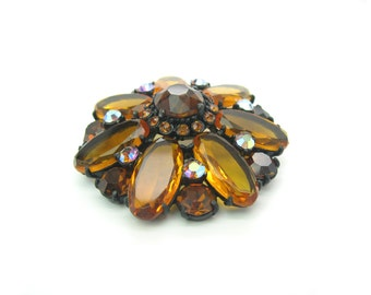 Rhinestone Flower Brooch. Daisy Jewelry. Smoked Topaz Aurora Borealis Amber Glass. Vintage 1960s Hollywood Regency Statement Jewelry