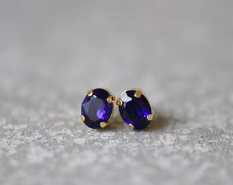 Purple Velvet Earrings Swarovski Crystal 8mm Oval Petite Studs Super Sparklers Small RARE Vintage Dark Purple Wedding Earrings Mashugana