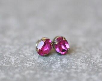 Fuchsia Pink Earrings Swarovski Crystal 8mm Oval Petite Studs Super Sparklers Small RARE Vintage Hot PInk Wedding Earrings Mashugana