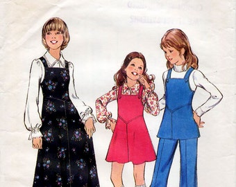 1970s Girl's Pinafore Jumper Dress, Blouse and Trousers Pattern Style 4348 Teen Tween Child's Petites Vintage Sewing Pattern Size 12 Bust 30