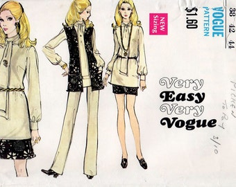 1970s Blouse, Sleeveless Jacket, Mini Skirt, Shorts and Pants Pattern Vogue 7781 Vintage Sewing Pattern Bust 42 Plus Size