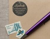 Self-Inking Address Stamp PAINT SPOT Design Interchangeable return address - watercolor address stamp wood handle or self inking address