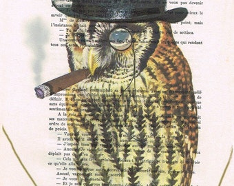 Steampunk Owl smoking: Art Poster Digital Art Original Illustration Giclee Print Wall art Wall Hanging Wall Decor Animal Painting watercolor