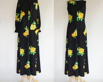 60s Polyester Maxi Dress and Jacket Set / 60s Hostess Dress