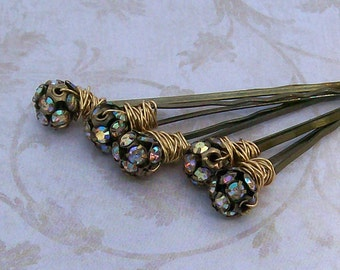 Rhinestone Hair Pins in Gold Bronze - Set of 5